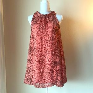 Coral Flowy Summer Dress with Open Back